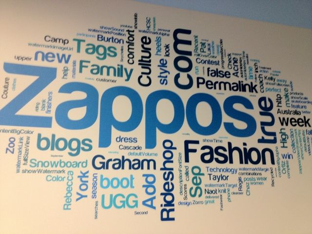 Wall with Zappos logo and other words